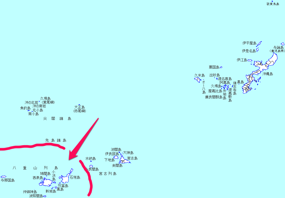 八重山諸島の地図。