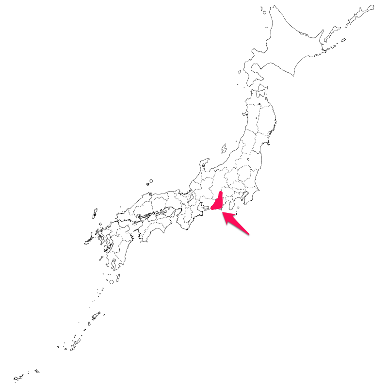 日本地図の、遠州付近を塗りつぶした図。