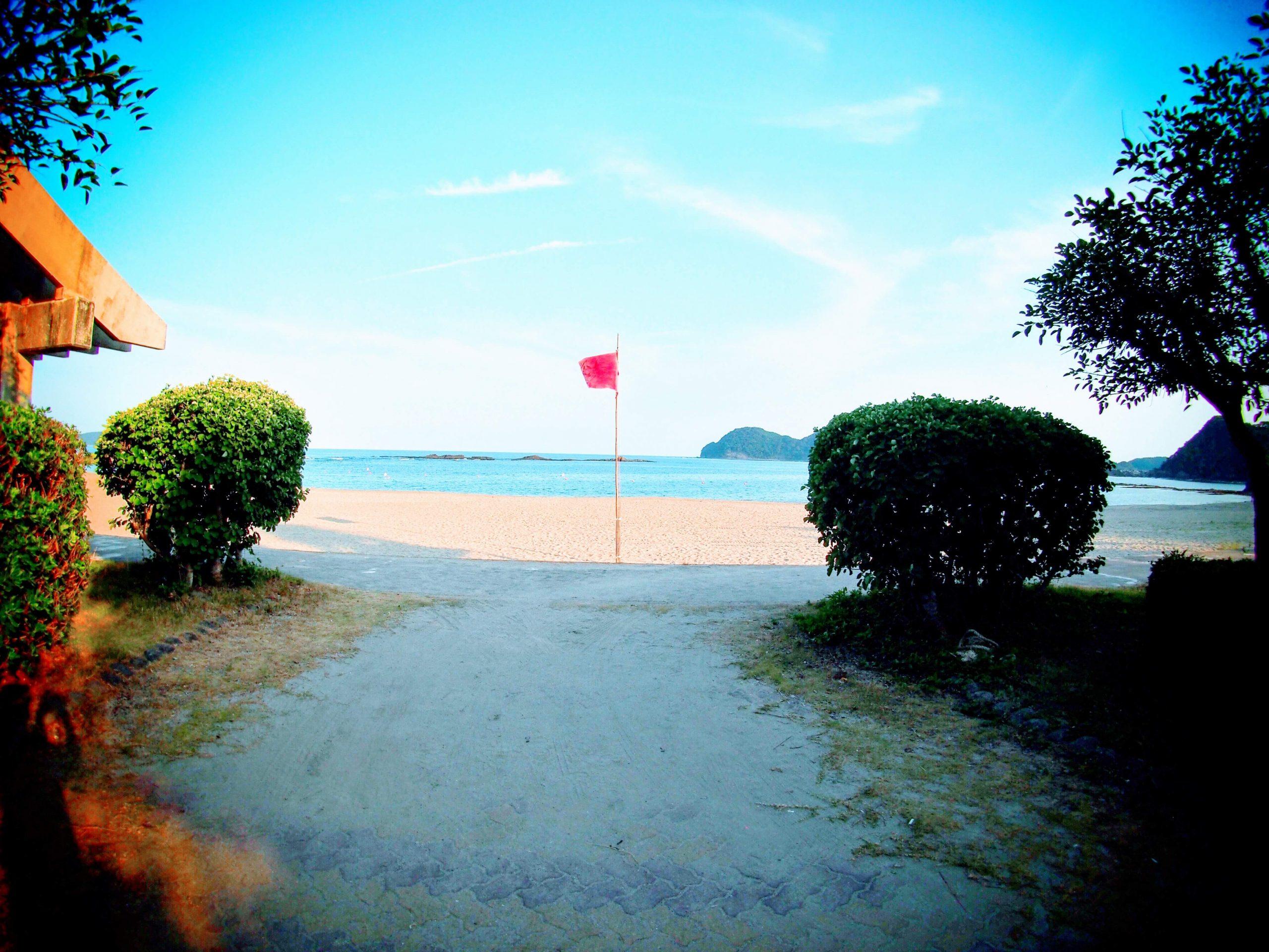 徳島県・大砂海岸に立つ旗